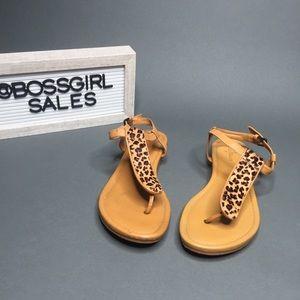 Cole Hahn Leopard Fur Thong Sandals 6 1/2